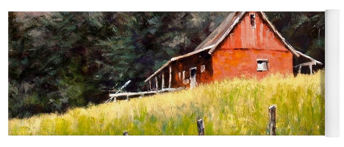Landscape Yoga Mat featuring the painting The Red Coach Stop by Jim Gola