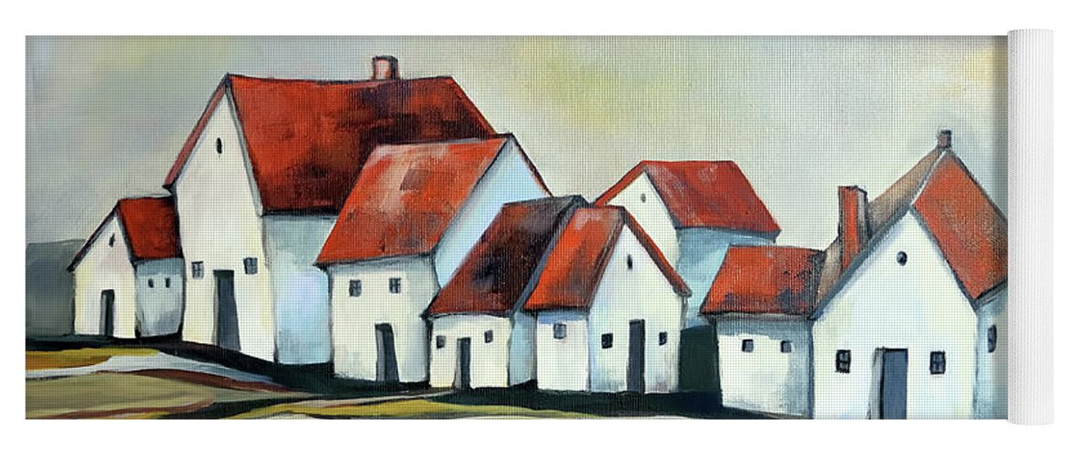 Village Yoga Mat featuring the painting The smallest village by Aniko Hencz