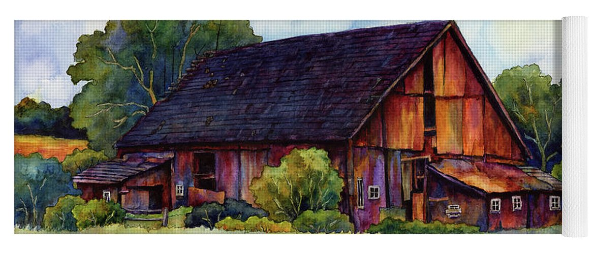 Barn Yoga Mat featuring the painting This Old Barn by Hailey E Herrera