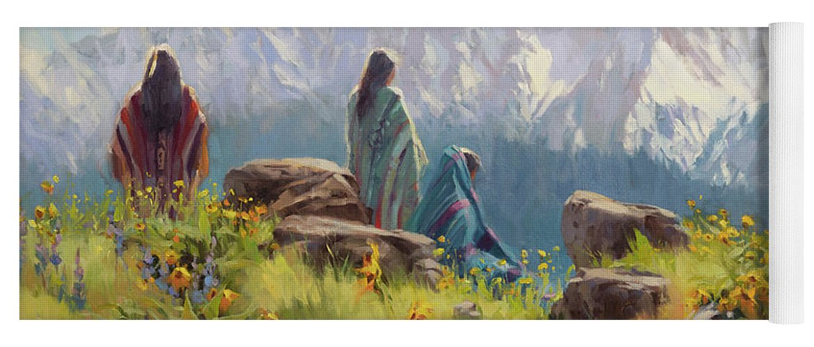 Nez Perce Yoga Mat featuring the painting This Was Our Shangri-La by Steve Henderson