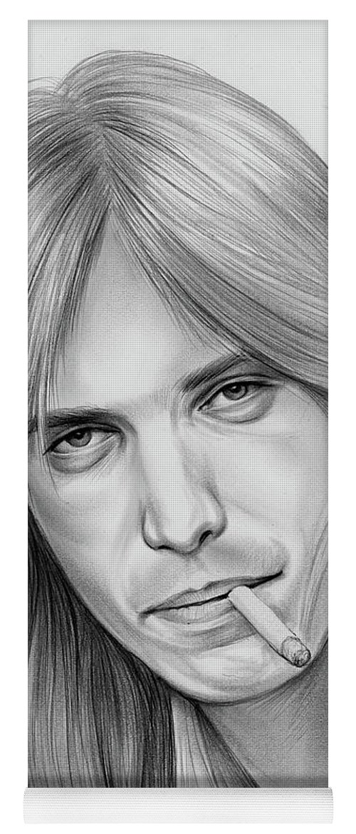 Tom Petty Yoga Mat featuring the drawing Tom Petty - Pencil by Greg Joens