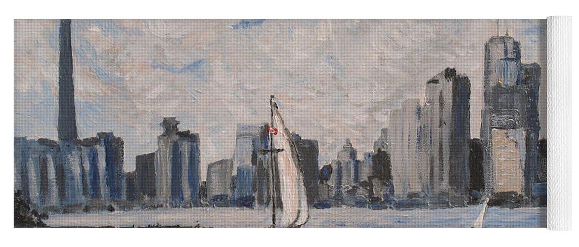 Toronto Yoga Mat featuring the painting Toronto Harbor East Gap by Ian MacDonald