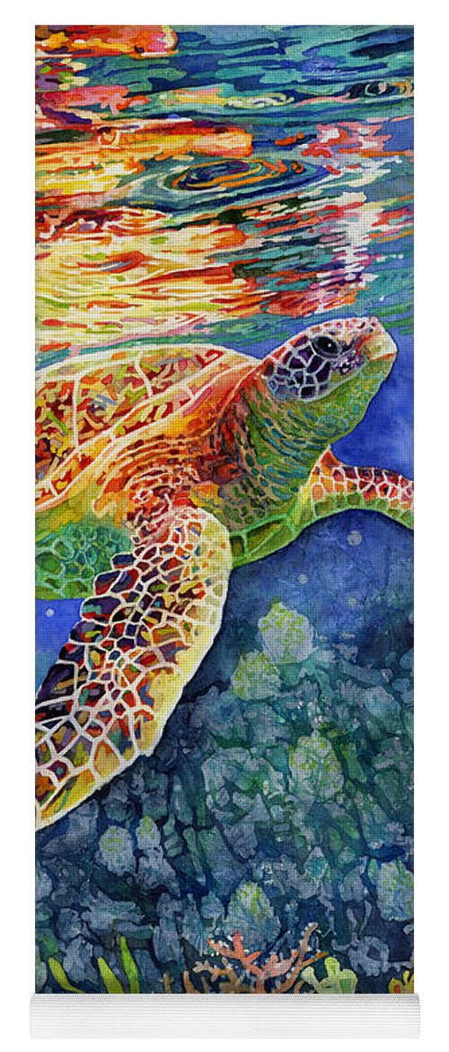 Turtle Yoga Mat featuring the painting Turtle Reflections by Hailey E Herrera