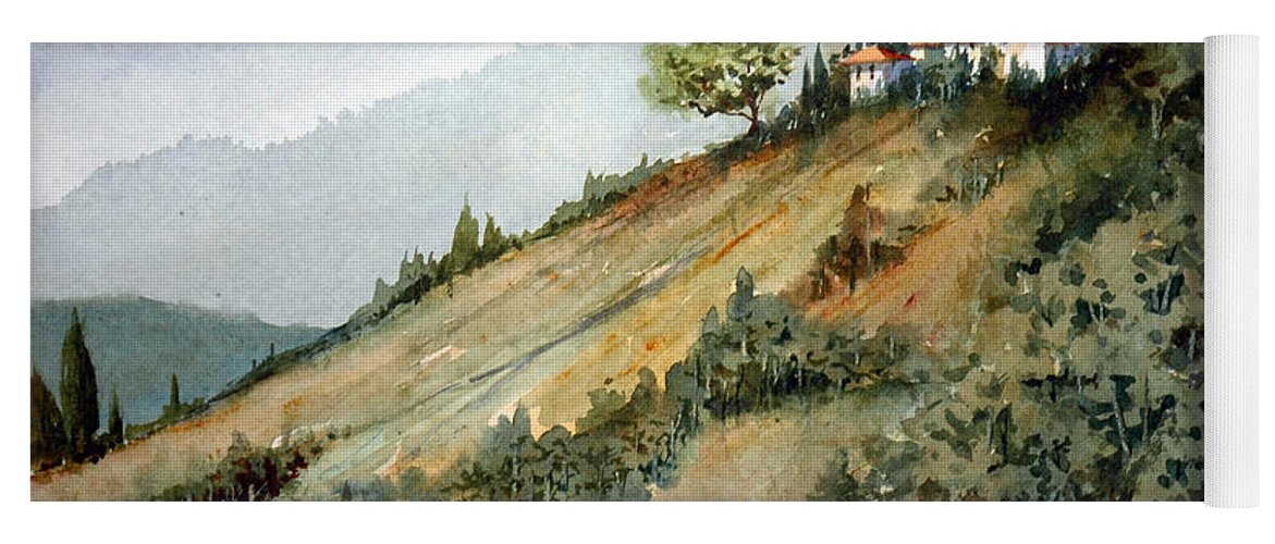 Tuscan Yoga Mat featuring the painting Tuscan Hills by Charles Rowland