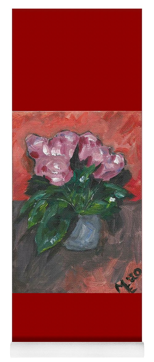 Rose Yoga Mat featuring the painting Vase of Roses by Monica Resinger