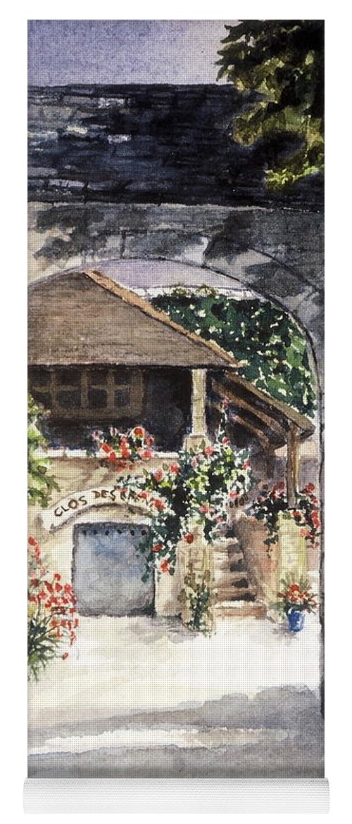 France Yoga Mat featuring the painting Vineyard Clos des Epeneaux by Mary Ellen Mueller Legault