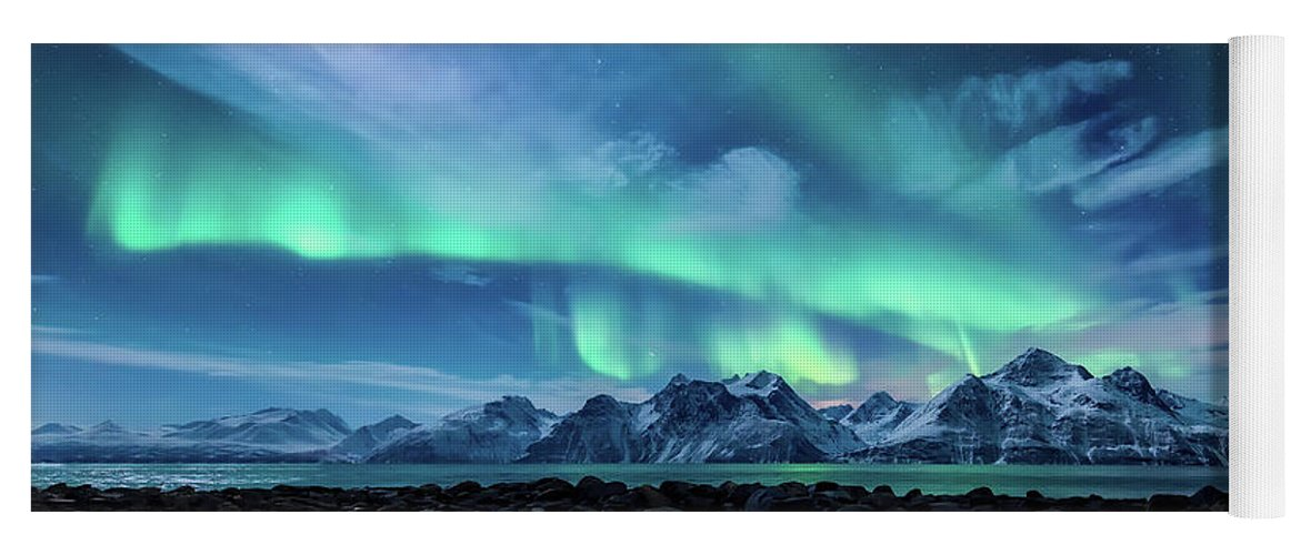 Moon Yoga Mat featuring the photograph When the moon shines by Tor-Ivar Naess