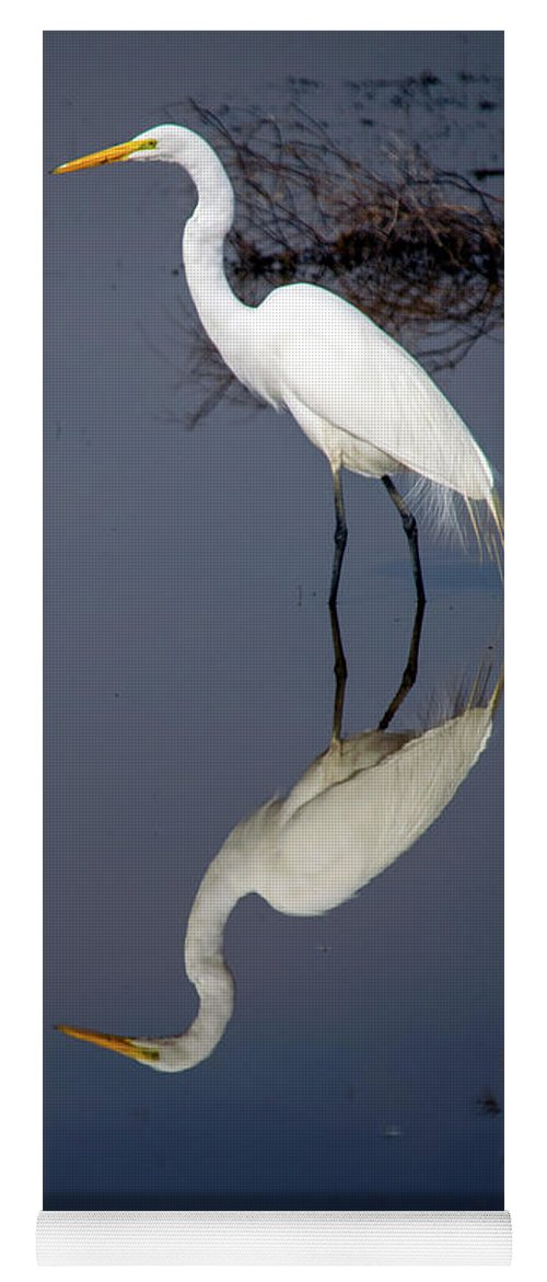 Bird Yoga Mat featuring the photograph White Egret Reflection by Frank Wilson