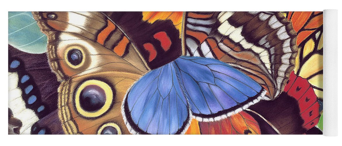 Butterflies Yoga Mat featuring the painting Wings Of California by Lucy Arnold