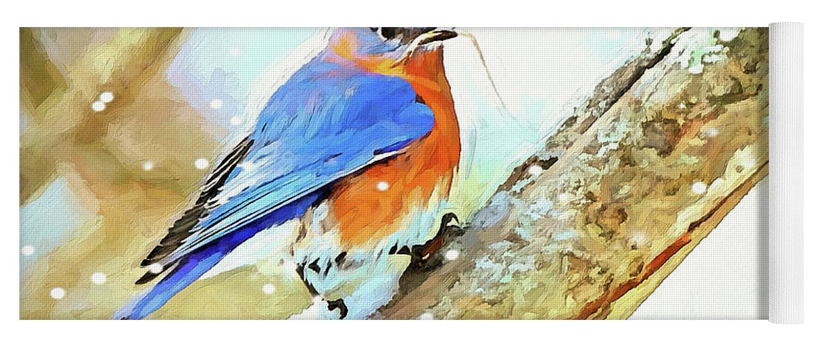 Bluebird Yoga Mat featuring the digital art Winter Nesting by Tina LeCour