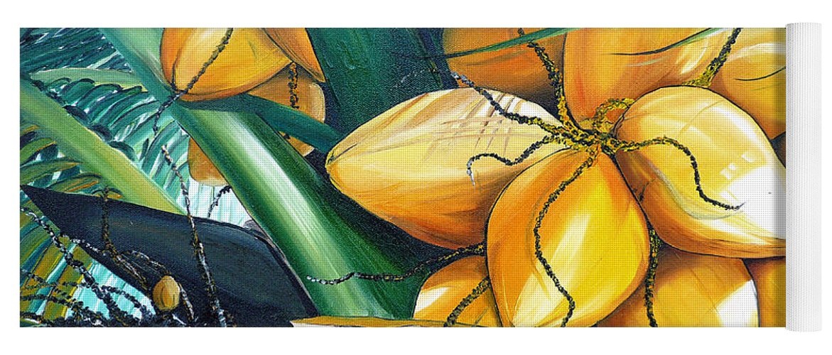 Coconut Painting Botanical Painting  Tropical Painting Caribbean Painting Original Painting Of Yellow Coconuts On The Palm Tree Yoga Mat featuring the painting Yellow Coconuts by Karin Dawn Kelshall- Best