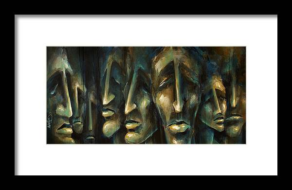 Expressionist Framed Print featuring the painting ' Jury Of Eight ' by Michael Lang