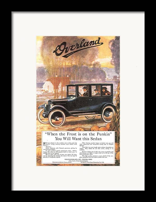 1920�s Framed Print featuring the drawing 1920s Usa Overland Cars by The Advertising Archives