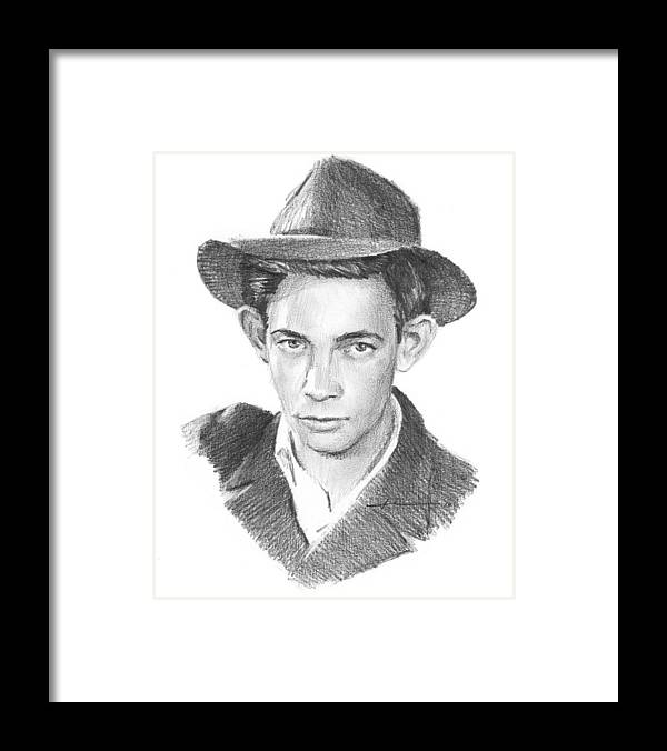 <a Href=http://miketheuer.com Target =_blank>www.miketheuer.com</a> Framed Print featuring the drawing 1930s Uncle Pencil Portrait by Mike Theuer