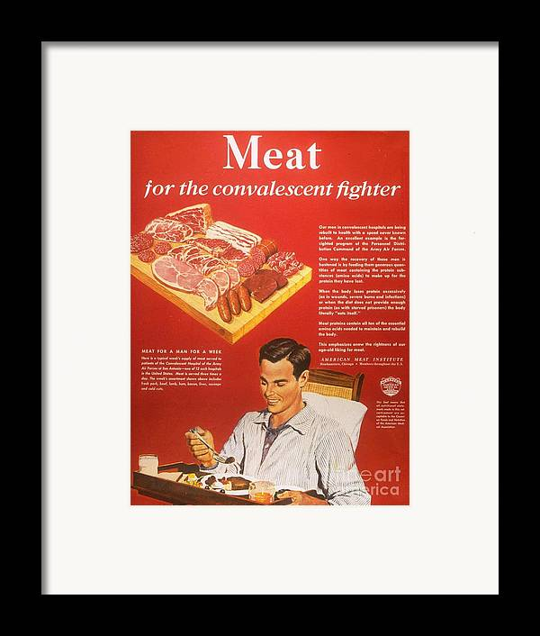 1940�s Framed Print featuring the drawing 1940s Usa Convalescents Meat Eating by The Advertising Archives