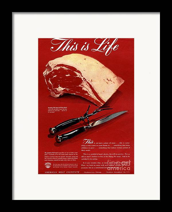 1940�s Framed Print featuring the drawing 1940s Usa Meat by The Advertising Archives