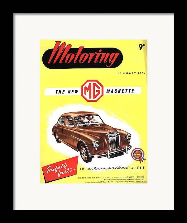 1950�s Framed Print featuring the drawing 1950s Uk Cars Mg Magnette Covers by The Advertising Archives