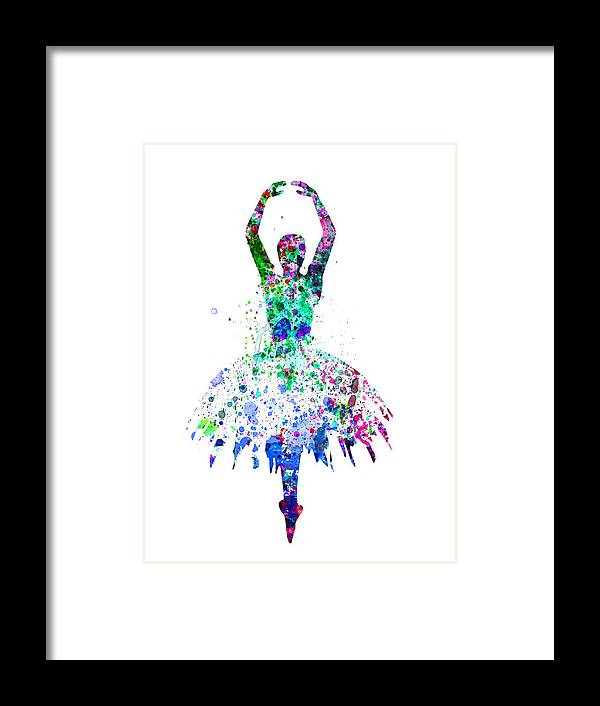 Ballet Framed Print featuring the painting Ballerina Dancing Watercolor 4 by Naxart Studio