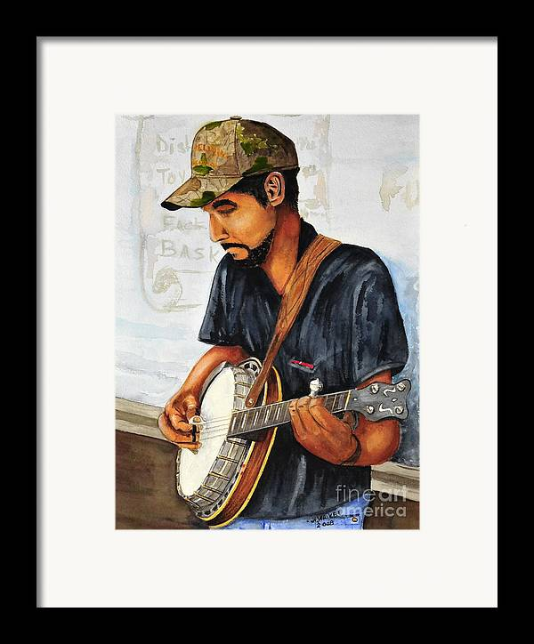 Banjo Framed Print featuring the painting Banjo Player by John W Walker