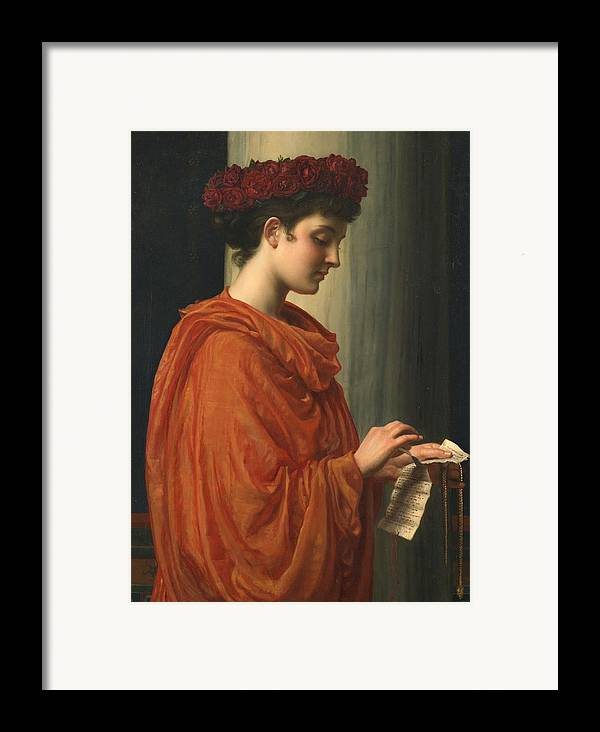 Female; Literature; Poetry; Character; Horace; Odes; Barine; Beauty; Note; Letter; Tearing; Ripping; Profile; Portrait Framed Print featuring the painting Barine by Sir Edward John Poynter