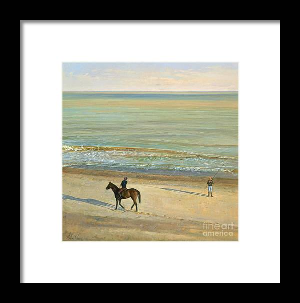 20th; Seaside; Suffolk; Riding; Horse; Rider; Fishing; Rod; Line; Fisherman; Talking; Exchanging Conversation; Sea; Footprints In The Sand Framed Print featuring the painting Beach Dialogue Dunwich by Timothy Easton