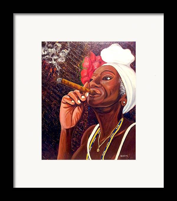 Cuban Art Framed Print featuring the painting  Cigar Lady by Jose Manuel Abraham