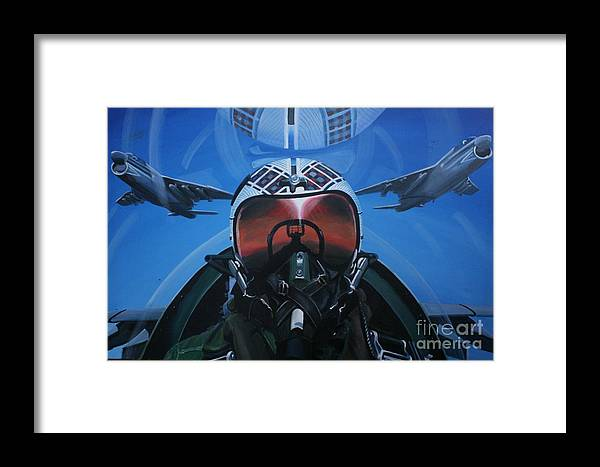 F8 Framed Print featuring the painting Colonel Dave Dollarhide by Richard John Holden RA