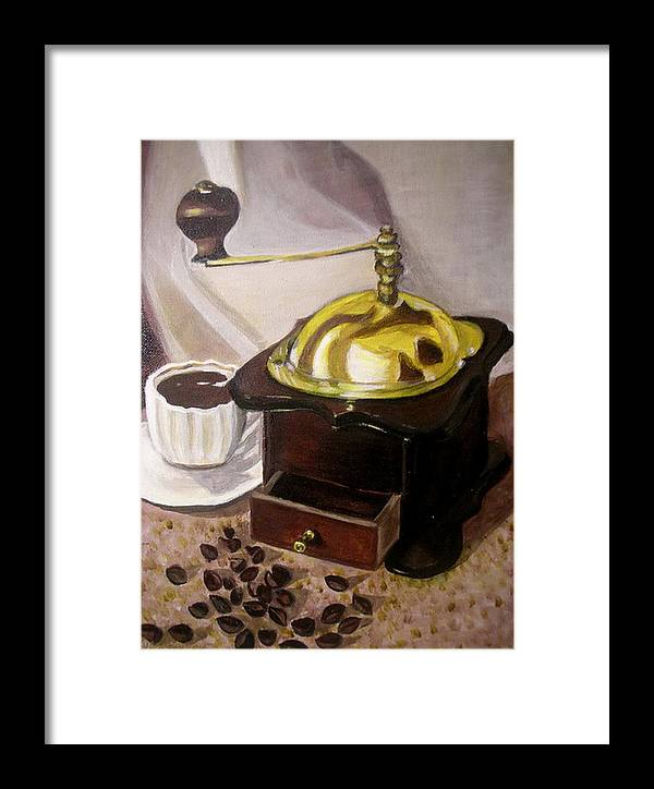 Brown Framed Print featuring the painting Cup Of Coffee by Vera Lysenko