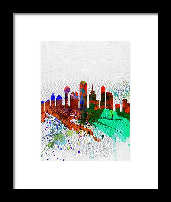 Dallas Framed Print featuring the painting Dallas Watercolor Skyline by Naxart Studio