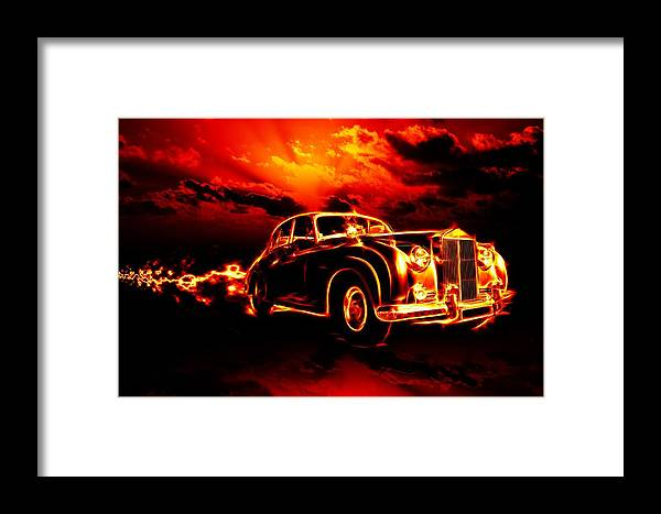 Sky Framed Print featuring the painting Fire Flame Hell Classic Car City by Tian Chen