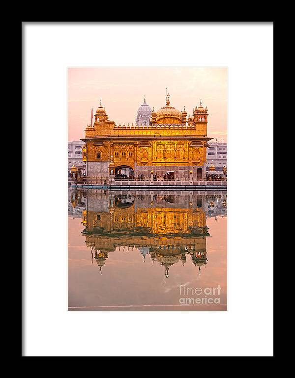 Amritsar Framed Print featuring the photograph Golden Temple - Amritsar by Luciano Mortula