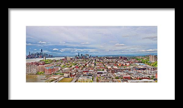 Hoboken Nj Framed Print featuring the photograph Hoboken-hudson River Panorama - by Regina Geoghan