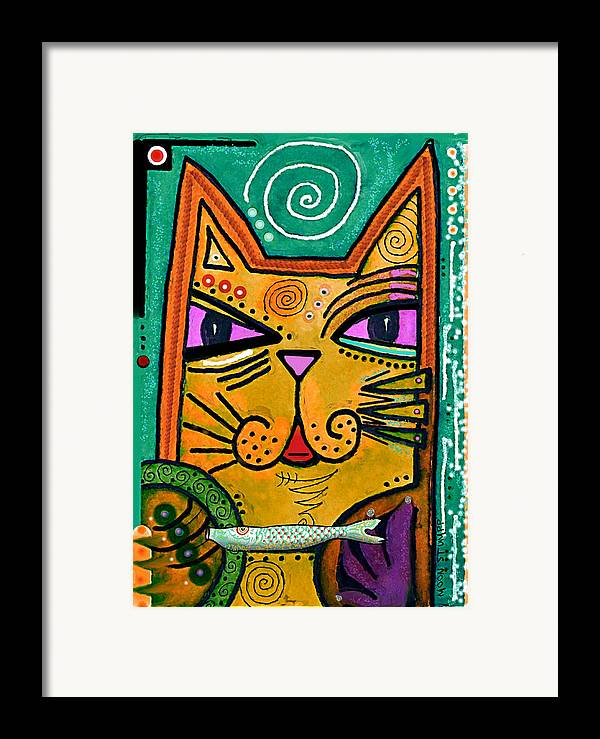 Moon Stumpp Framed Print featuring the painting House Of Cats Series - Fish by Moon Stumpp