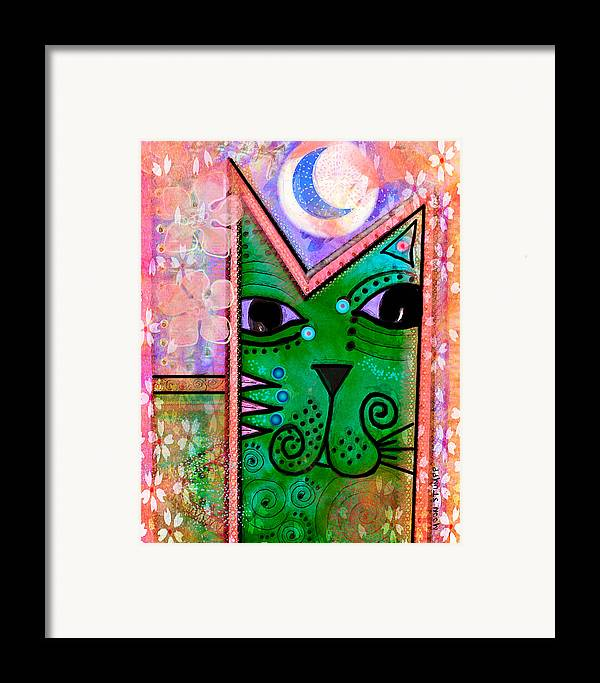 Moon Stumpp Framed Print featuring the painting House Of Cats Series - Moon Cat by Moon Stumpp