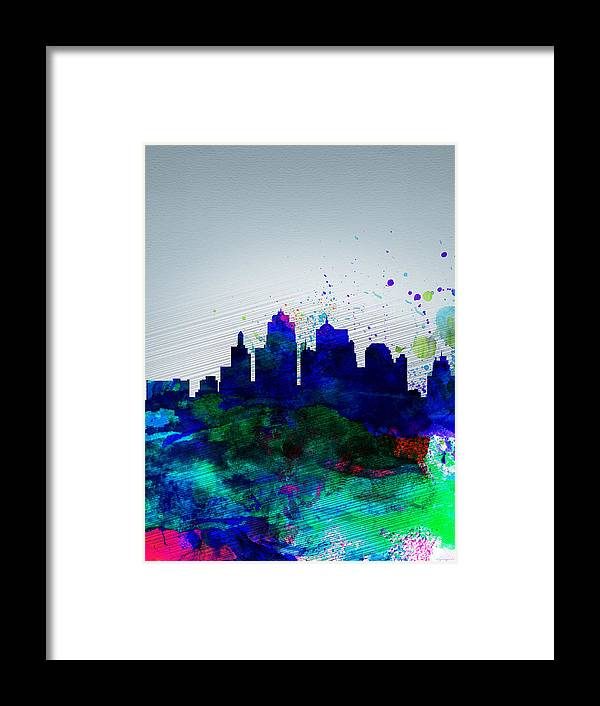 Kansas City Framed Print featuring the painting Kansas City Watercolor Skyline by Naxart Studio
