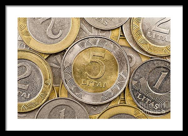 Coin Framed Print featuring the photograph Lithuanian Currency by G J