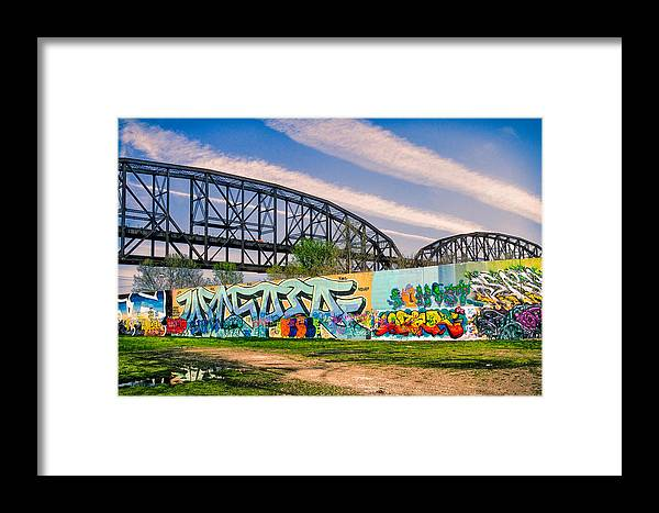 Art Framed Print featuring the photograph Mccarther Bridge And Grafiitti Flood Wall by Robert FERD Frank