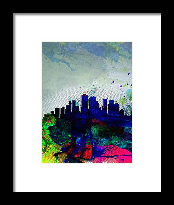 New Orleans Framed Print featuring the painting New Orleans Watercolor Skyline by Naxart Studio