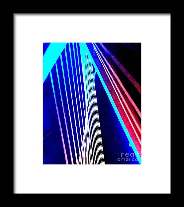 City Of Boston. Night Light. Greeting Cards. Blue Light. Driveway. Photograph. Natural Beauty. Rose Wang Image. Rose Wang Art. Bridge Framed Print featuring the photograph Night Lights. by Rose Wang