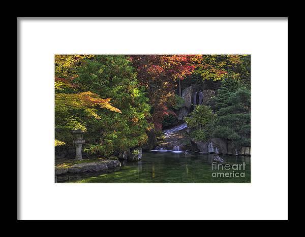 Autumn Framed Print featuring the photograph Nishinomiya Japanese Garden - Waterfall by Mark Kiver