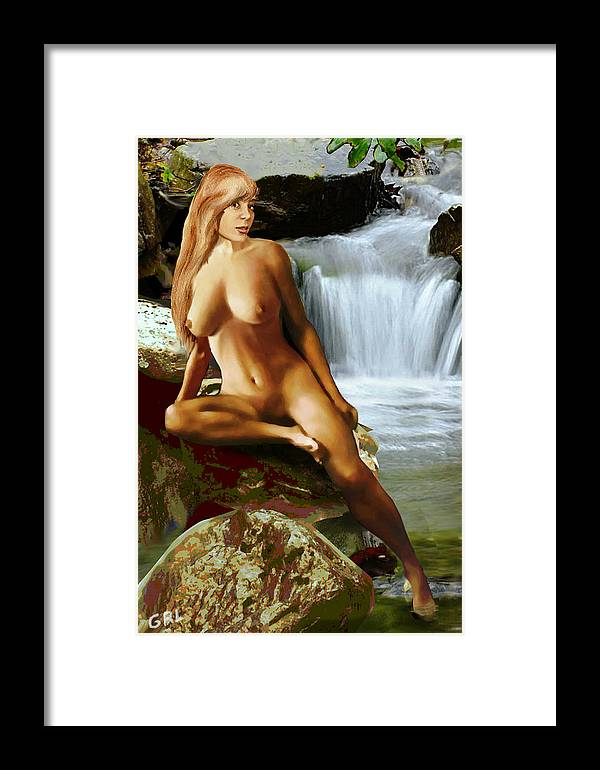 Original Image Framed Print featuring the painting Original Fine Art Nude Jess As Celtic Water Goddess Cortina by G Linsenmayer