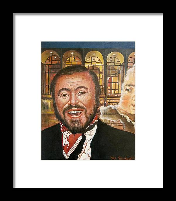 Luciano Pavarotti Framed Print featuring the painting Pavarotti And The Ghost Of Lincoln Center by Melinda Saminski