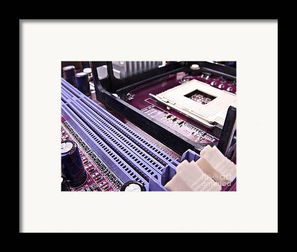 Motherboard Framed Print featuring the photograph Pc Motherboard by Jose Elias - Sofia Pereira