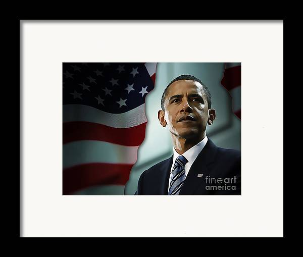 President Barack Obama Paintings Mixed Media Framed Print featuring the mixed media President Barack Obama by Marvin Blaine