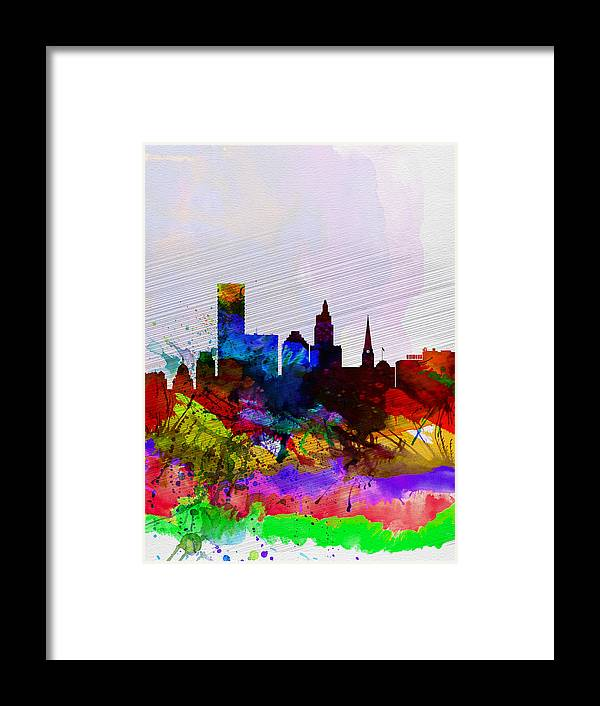Providence Framed Print featuring the painting Providence Watercolor Skyline by Naxart Studio