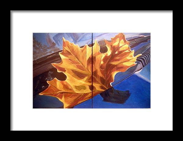 Orange Framed Print featuring the painting Reflection by Vera Lysenko