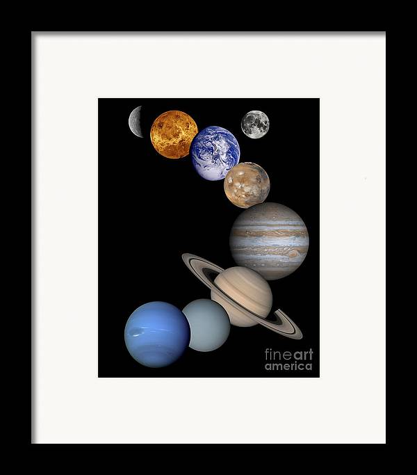 Solar; System; Montage; Astronomy Framed Print featuring the drawing Solar System Montage by Anonymous