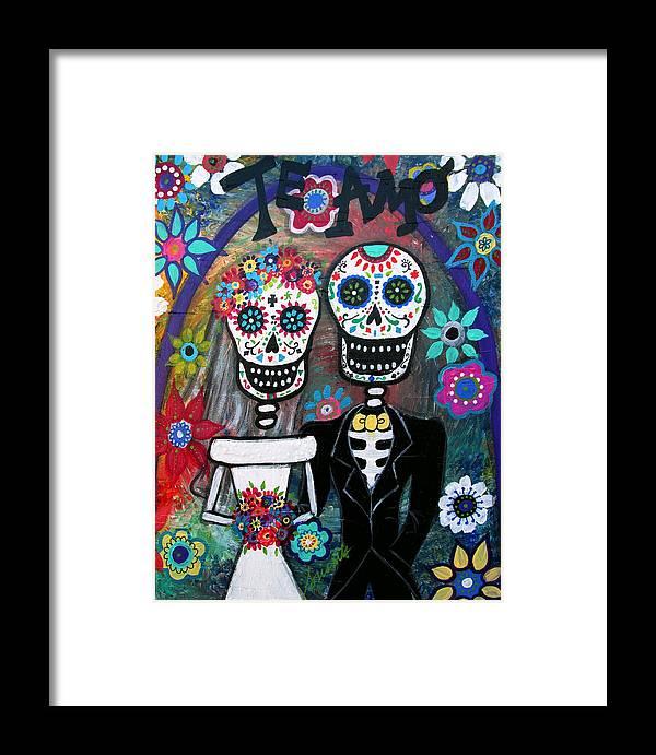 Te Amo Framed Print featuring the painting Te Amo Wedding Dia De Los Muertos by Pristine Cartera Turkus