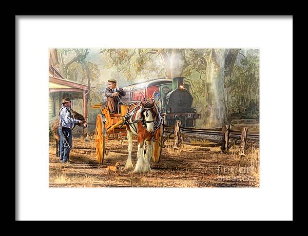 Steam Train Framed Print featuring the digital art The Four O'clock by Trudi Simmonds