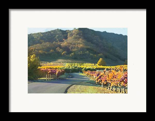 Corde Valle San Martin Ca Framed Print featuring the painting The Hills Of Clos La Chance Winery by Artist and Photographer Laura Wrede